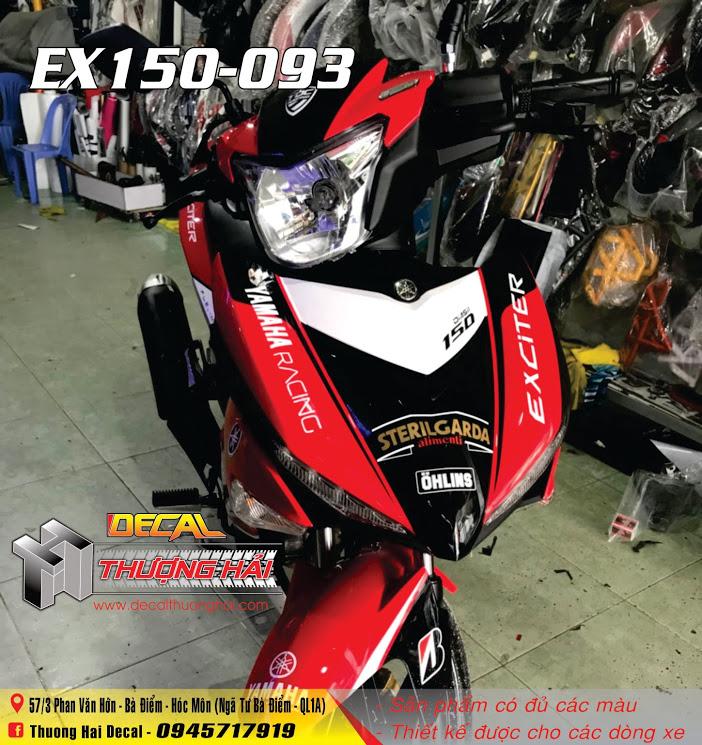 Tem Xe Exciter 150 Trắng Đỏ Đen - 093