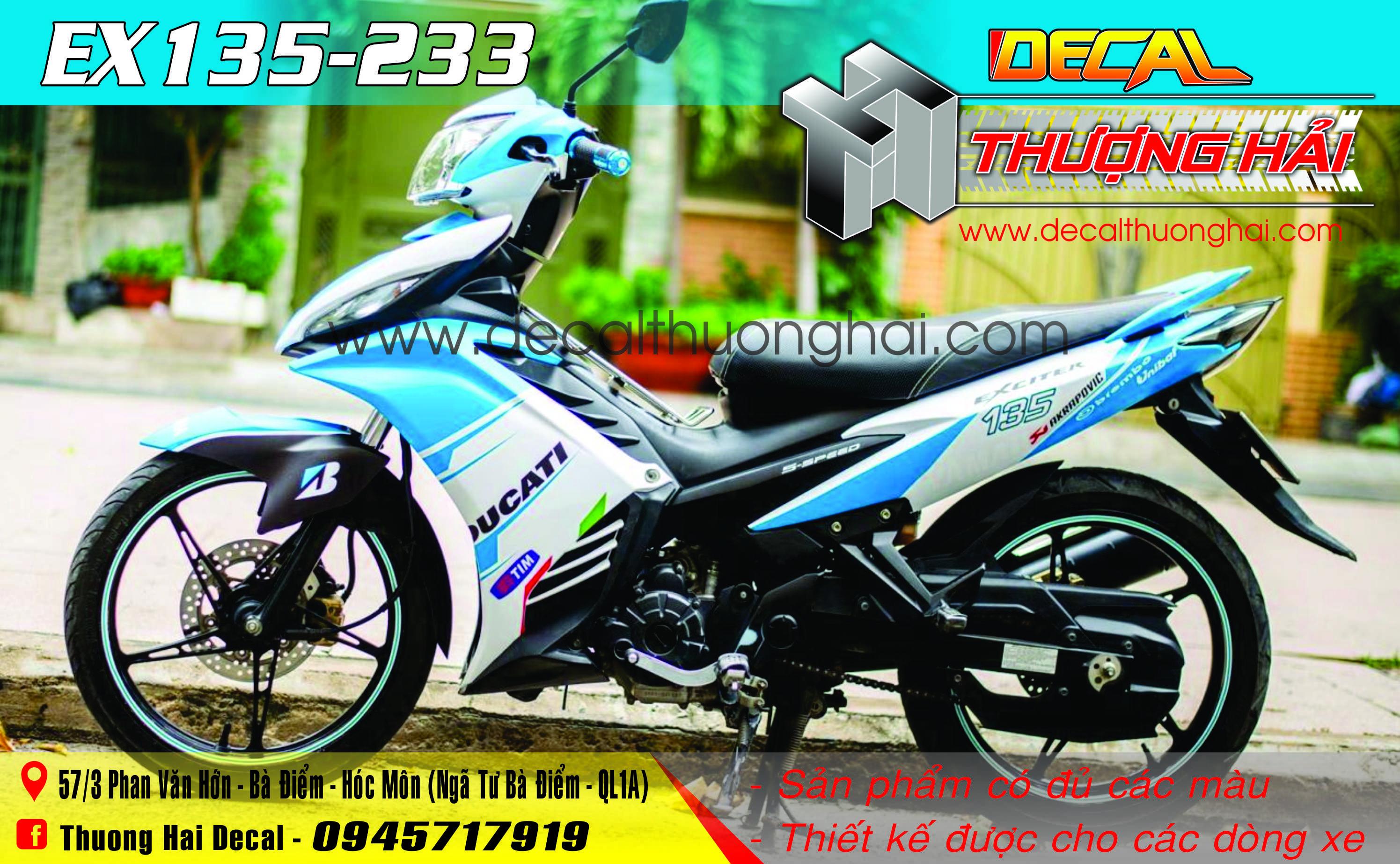 Tem Xe Exciter 135 Trắng Xanh Ducati - 233