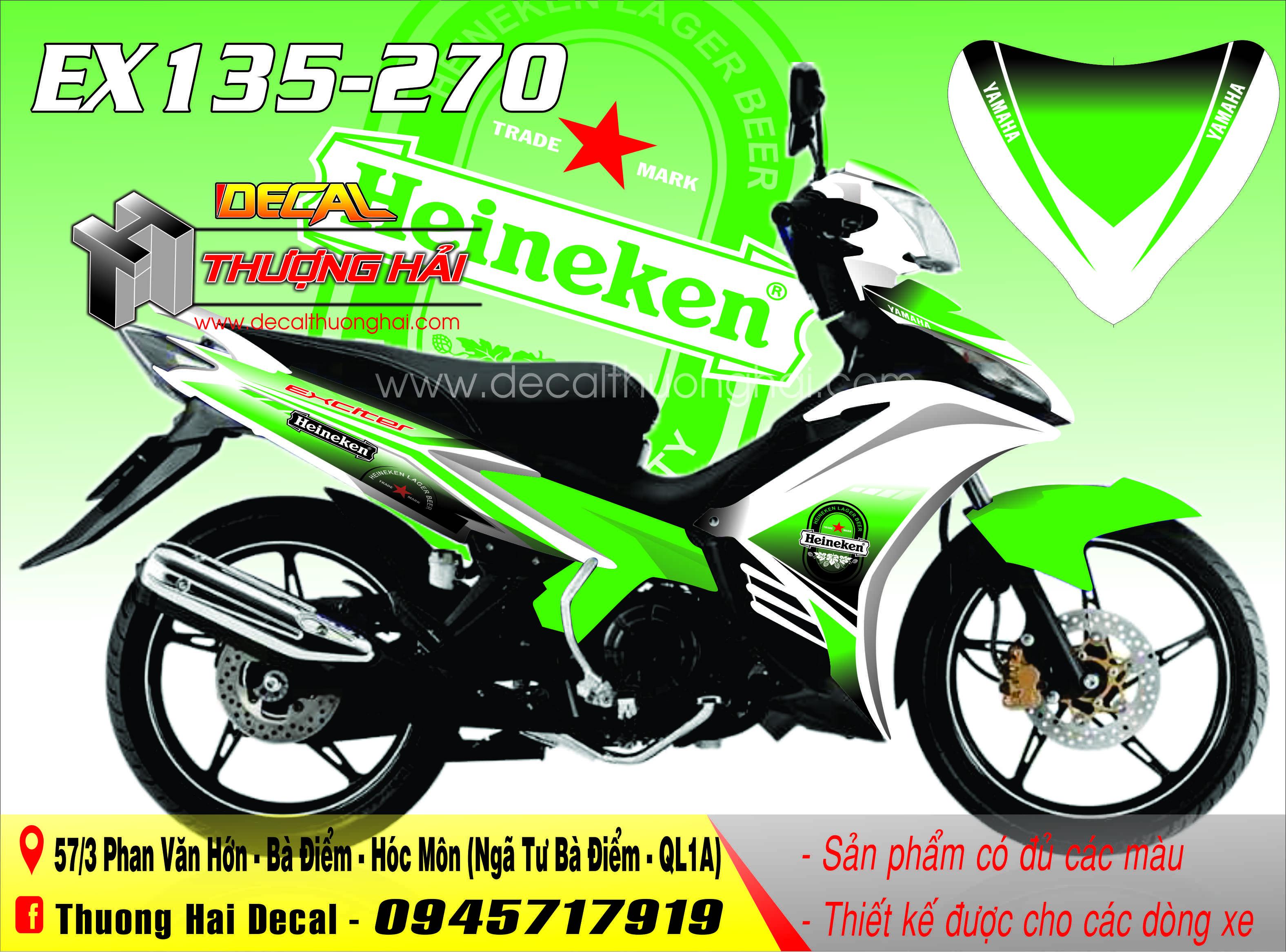 Tem Xe Exciter 135 Trắng Xanh Heineken - 270