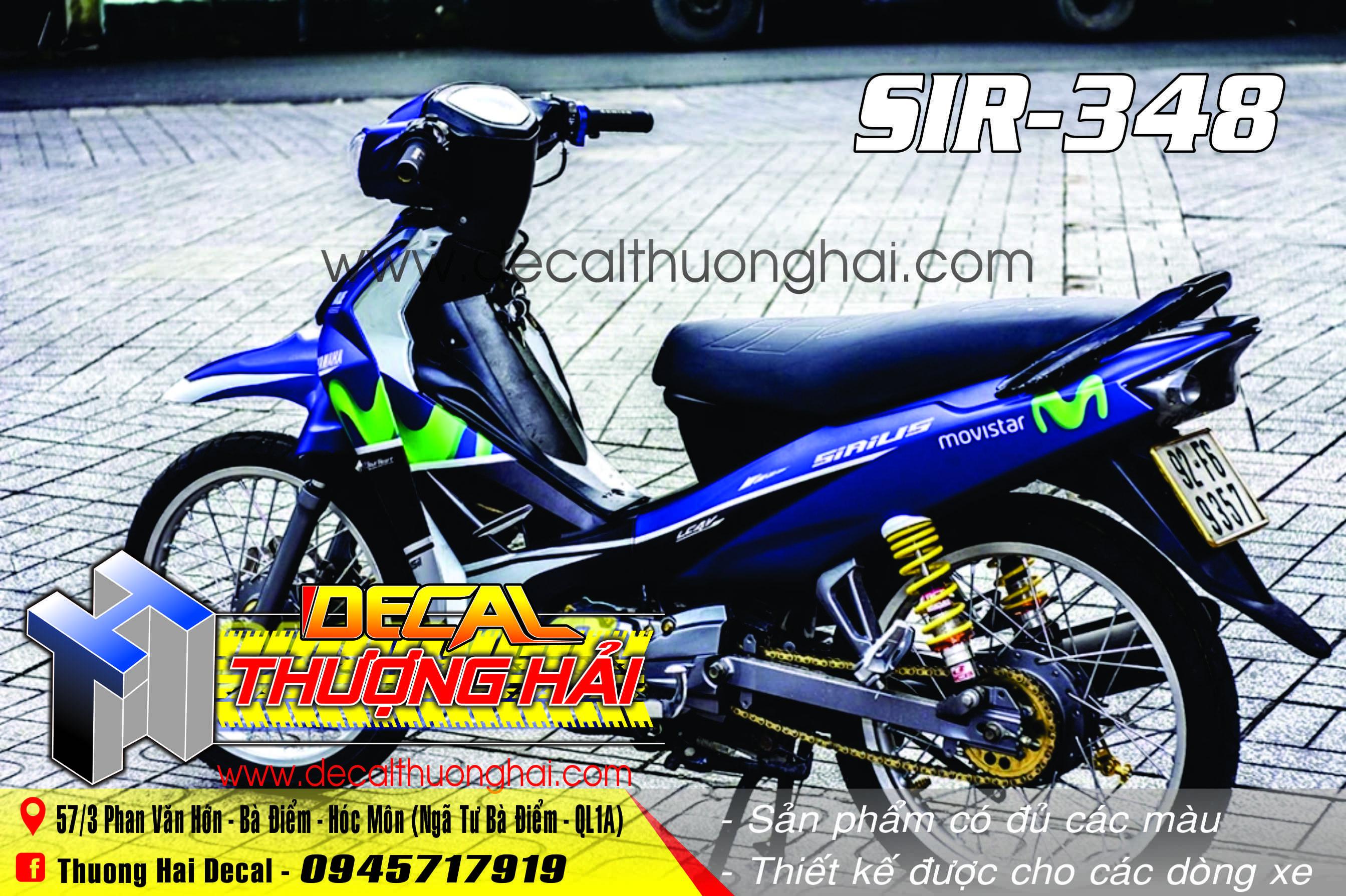 Tem Xe Yamaha Sirius Xanh Đen Movistar - 348