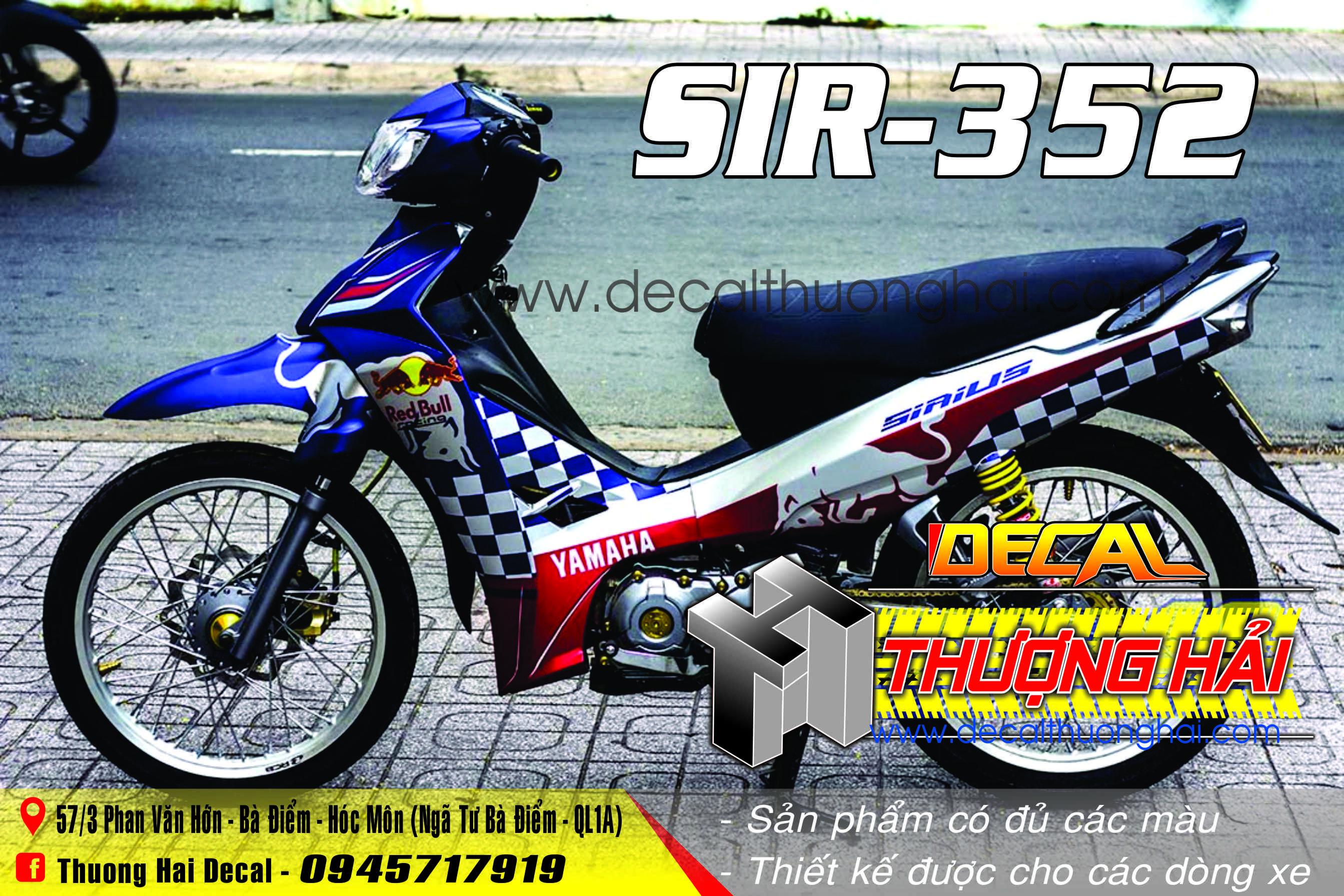 Tem Xe Yamaha Sirius Xanh Trắng Đỏ Red Bull - 352