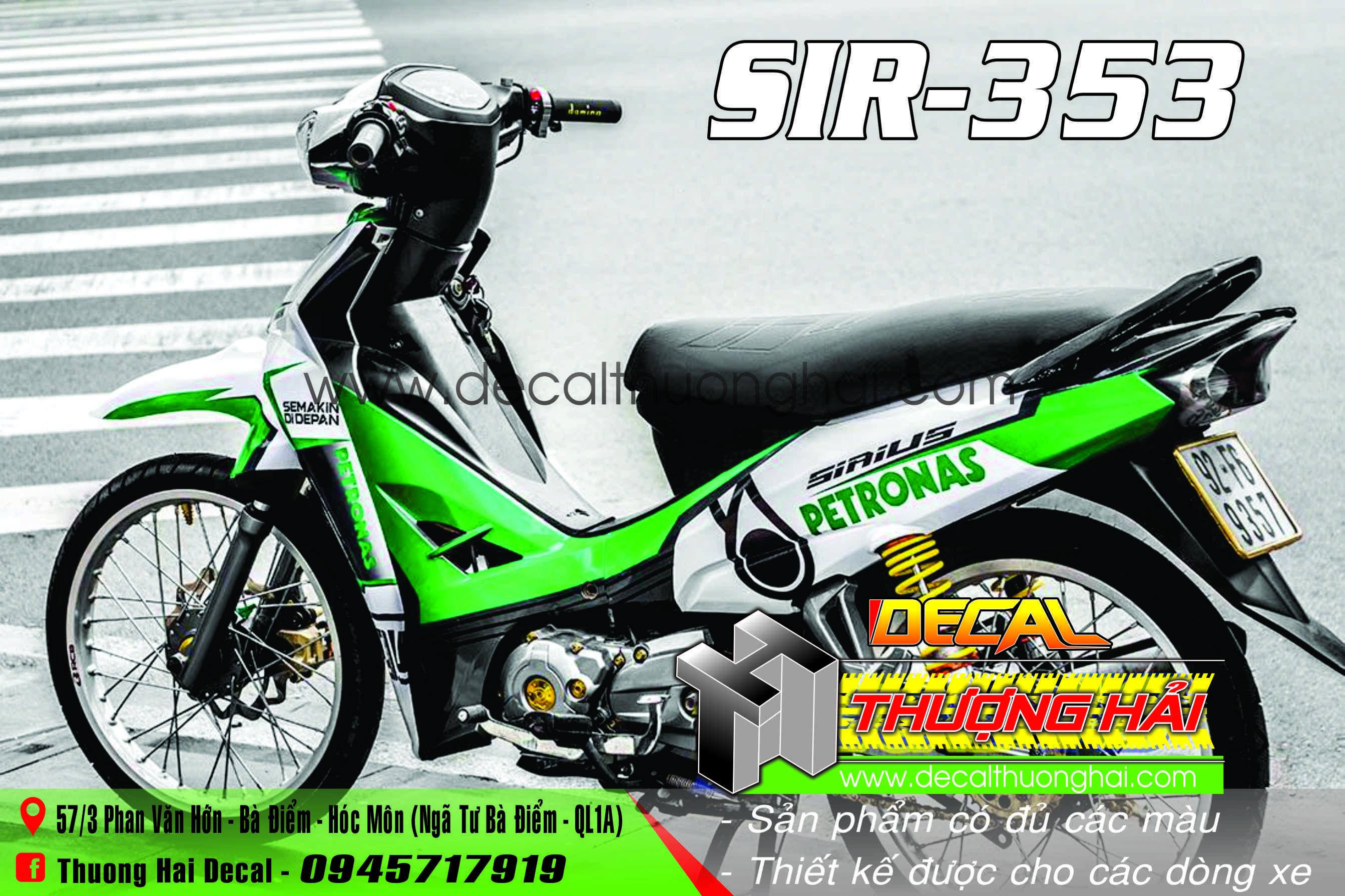 Tem Xe Yamaha Sirius Xanh Trắng Petronas - 353