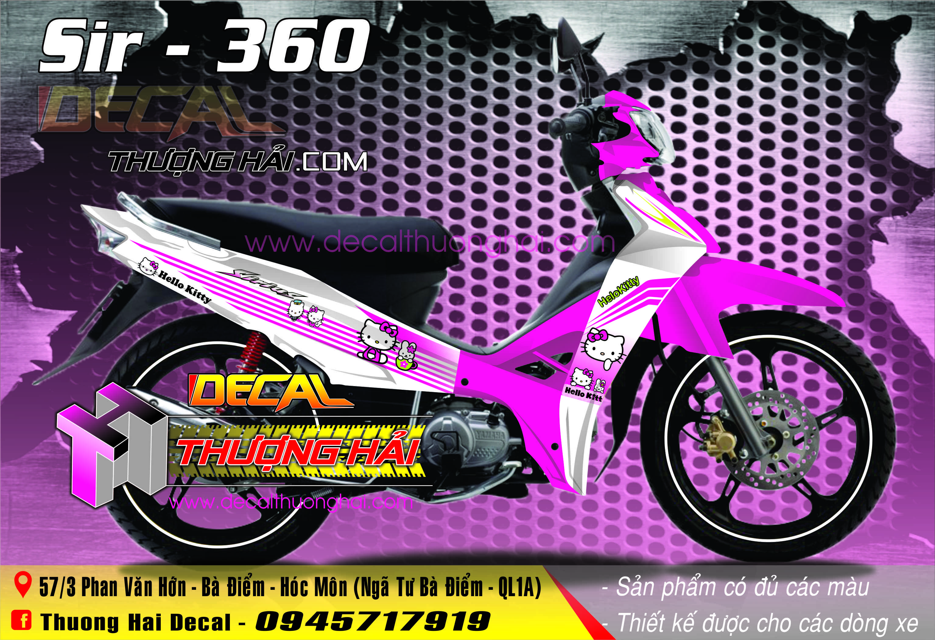 Tem Xe Yamaha Sirius Helo Kitty Trắng Hồng - 360