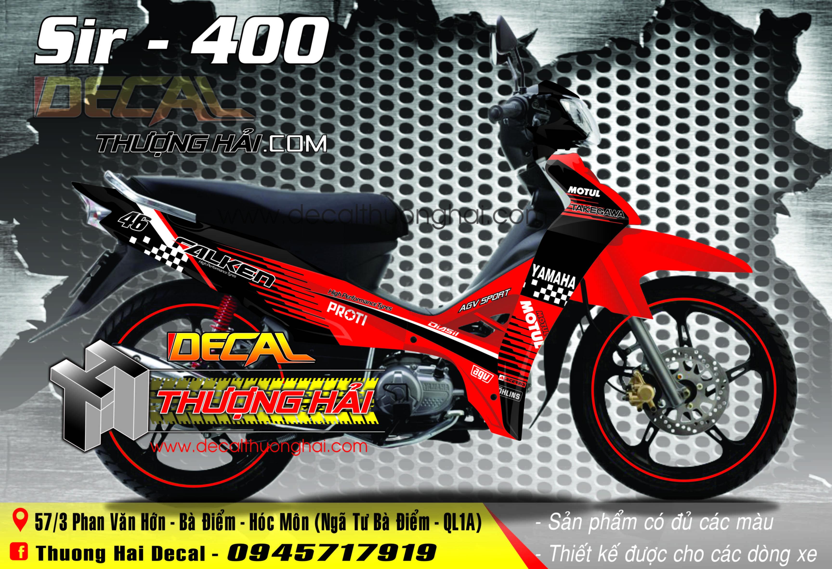 Tem Xe Yamaha Sirius Đỏ Đen - 400