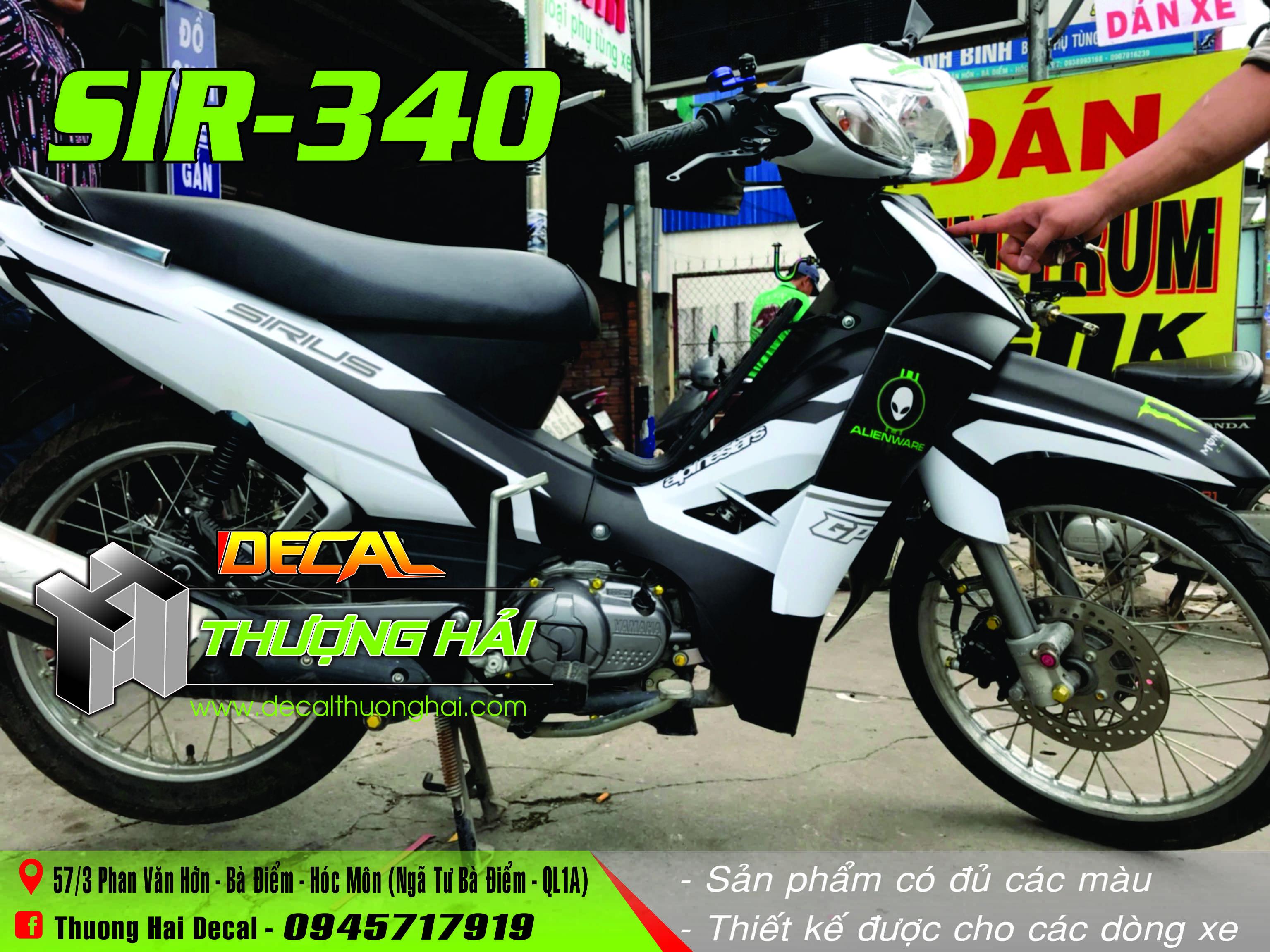 Tem Xe Yamaha Sirius Trắng Đen - 340