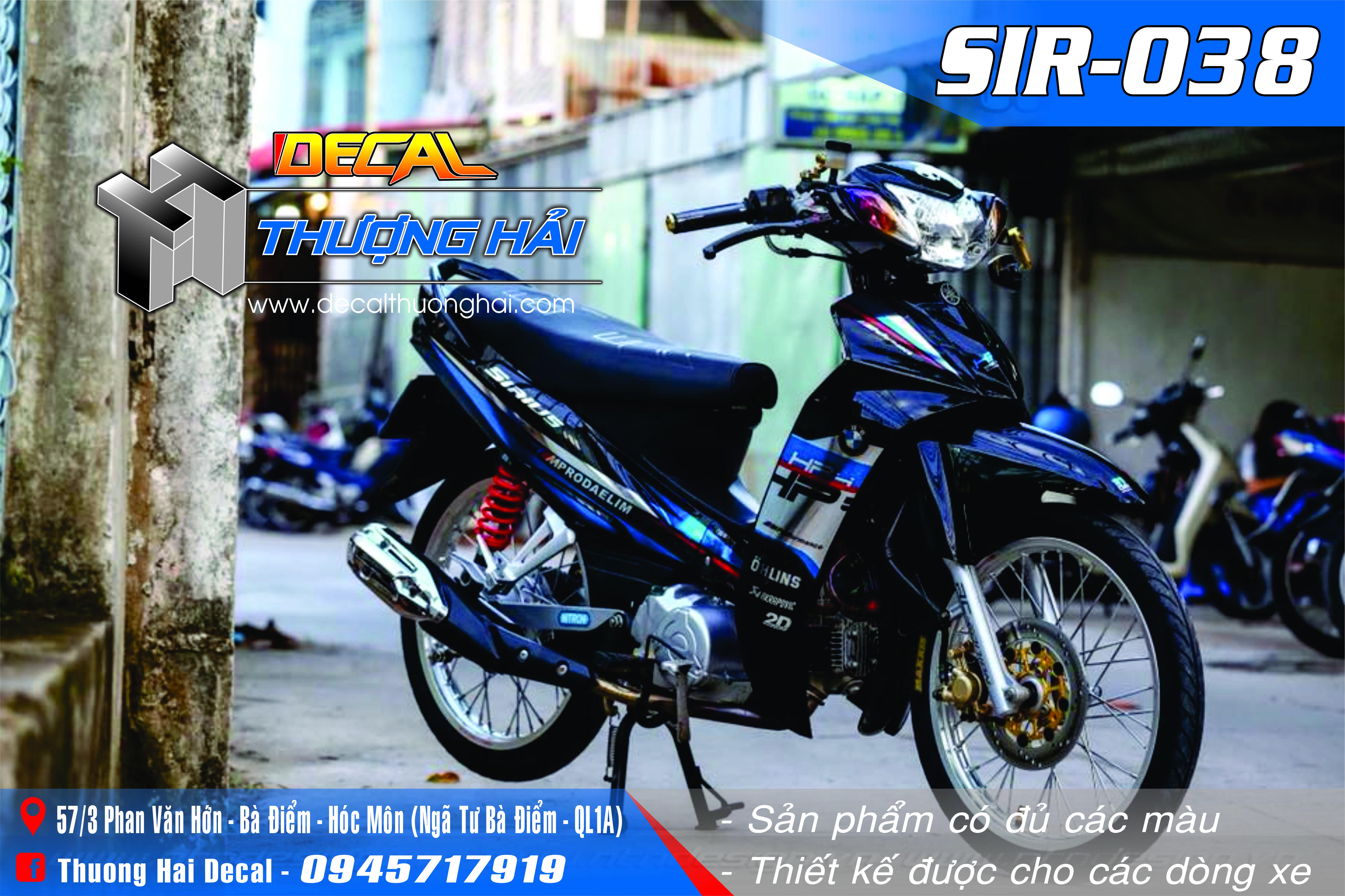 Tem Xe Yamaha Sirius Xanh Đen - 038