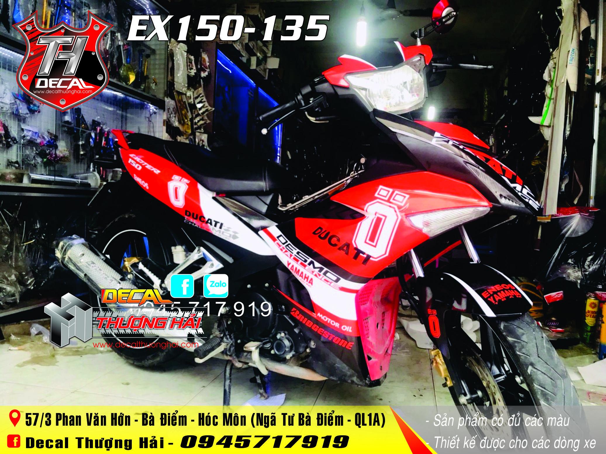 Tem Xe Exciter 150 Đỏ Trắng Đen 135