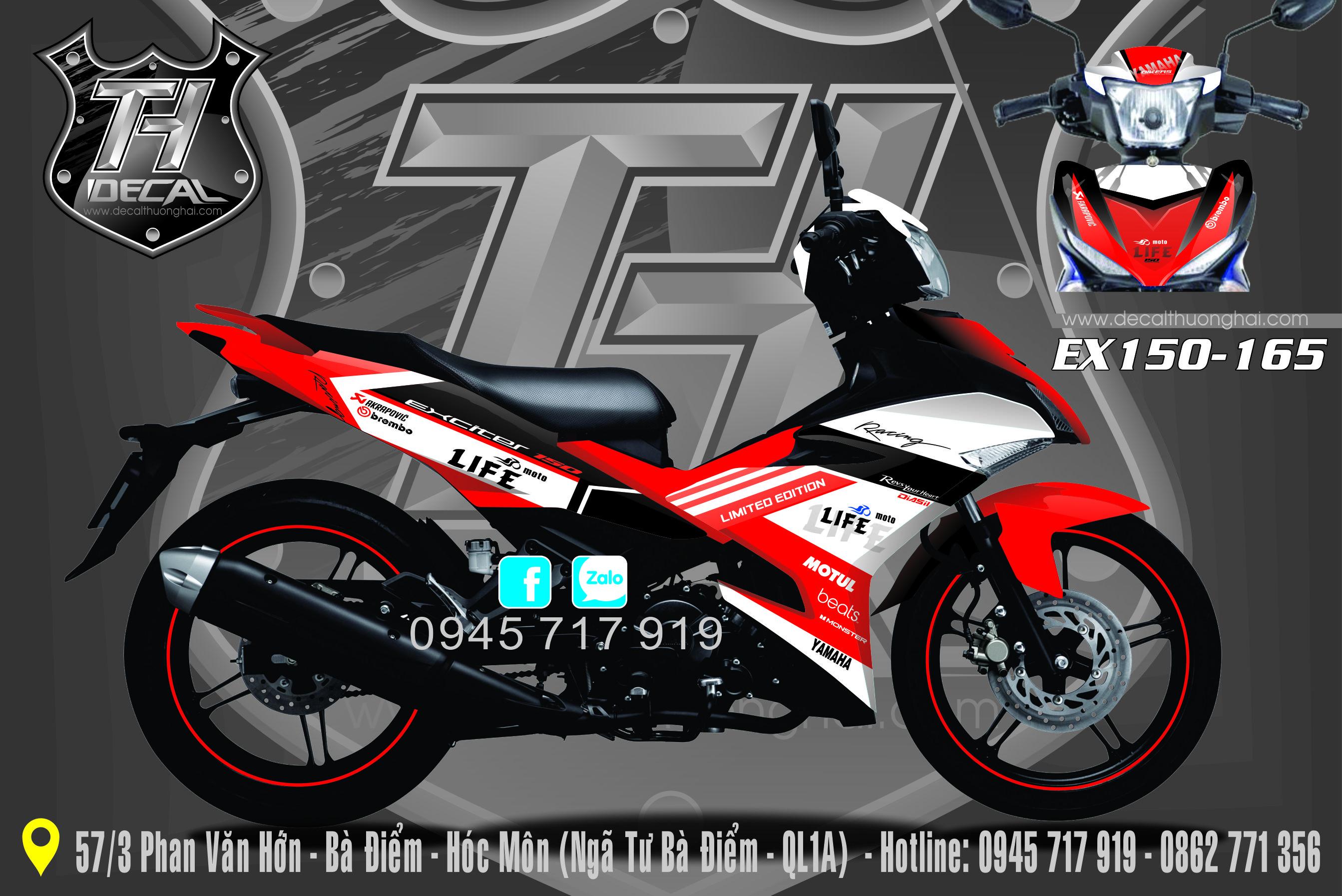 Tem Xe Exciter 150 Đỏ Trắng 165
