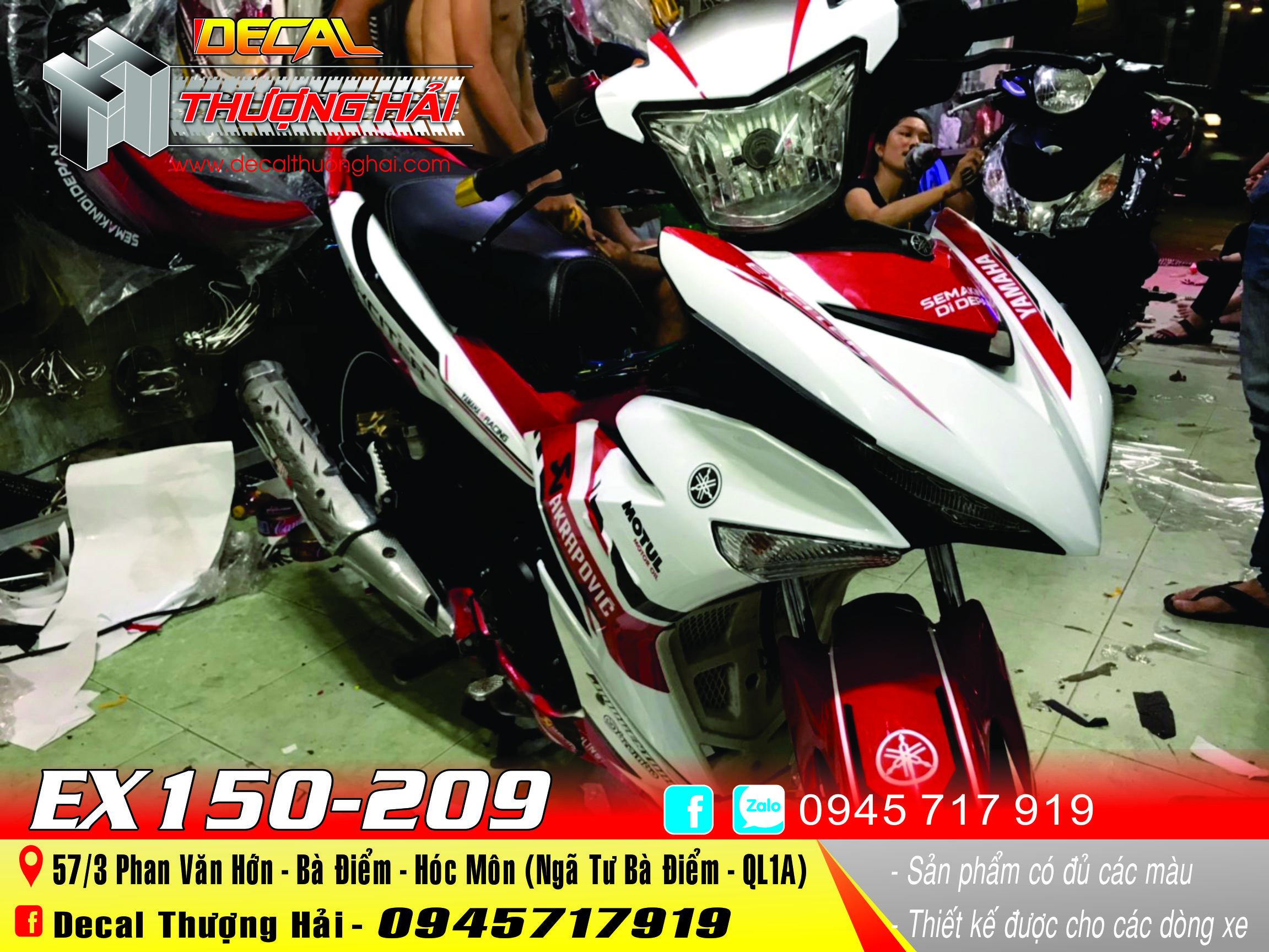 Tem Xe Exciter 150 Trắng Đỏ - 209