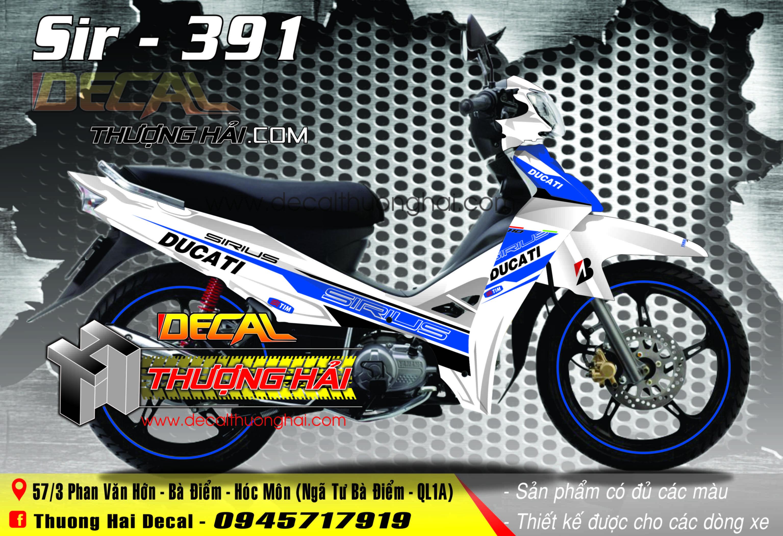 Tem Xe Yamaha Sirius Ducati Xanh Trắng - 391
